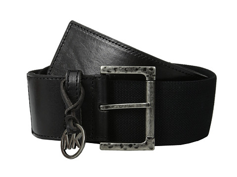 MICHAEL Michael Kors - 55mm Linen Stretch Panel with Leather Tabs on Hammered Roller Bar Buckle Belt (Black) Women
