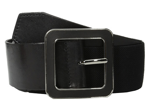 MICHAEL Michael Kors - 50mm Leather Panel with Linen Stretch Back on Self-Inlay Center Bar Buckle Belt (Black) Women