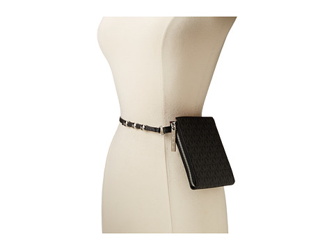 MICHAEL Michael Kors - 10mm Logo PVC and Patent Belt Bag with Side Zip Detail and Snap Closure (Black) Women
