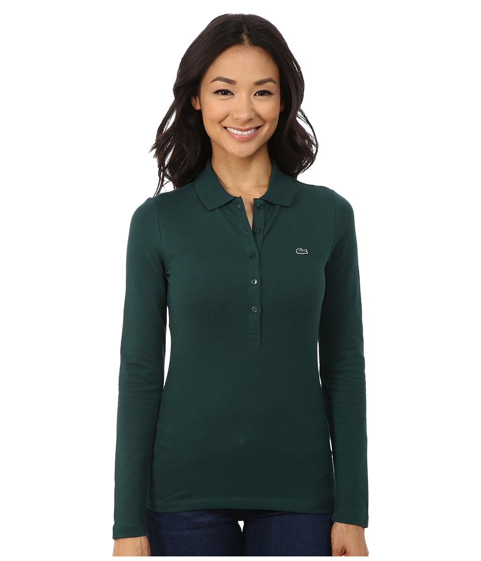 Lacoste - Long Sleeve Stretch Pique Polo (Evergreen) Women's Long Sleeve Pullover
