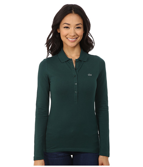 Lacoste - Long Sleeve Stretch Pique Polo (Evergreen) Women
