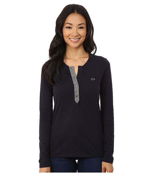 Lacoste - Long Sleeve Contrast Placket Henley (Midnight/Stone Chine) Women's Long Sleeve Pullover
