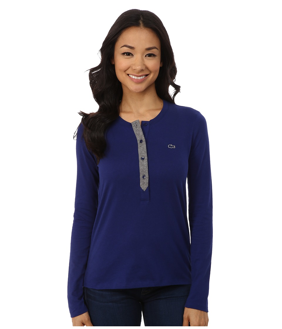 Lacoste - Long Sleeve Contrast Placket Henley (Ocean/Stone Chine) Women's Long Sleeve Pullover