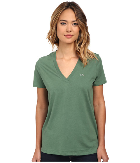 Lacoste - Short Sleeve Cotton Jersey V-Neck Tee Shirt (Myrtle Green) Women