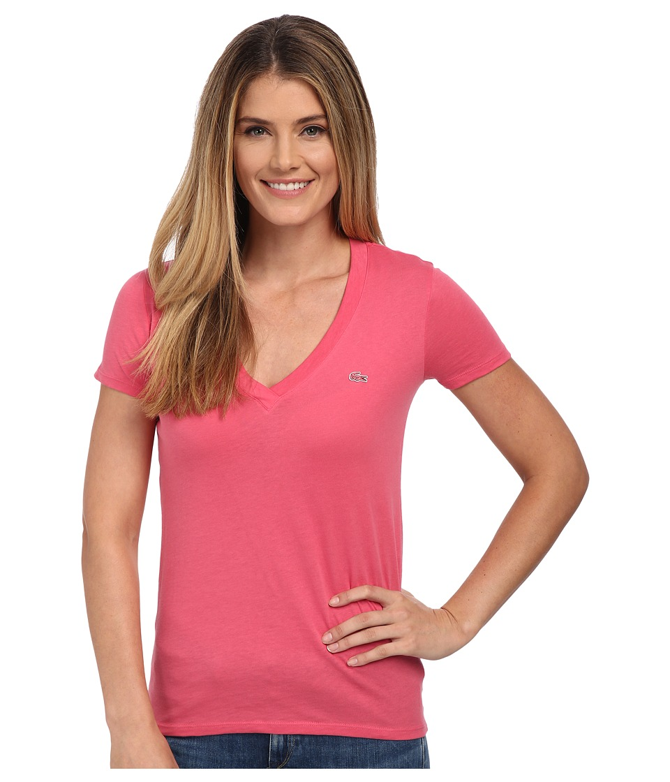 Lacoste - Short Sleeve Cotton Jersey V-Neck Tee Shirt (Candy Box Pink) Women's Short Sleeve Pullover