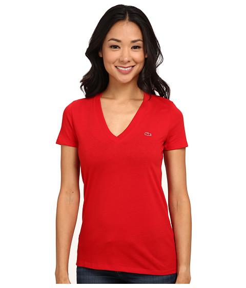 Lacoste - Short Sleeve Cotton Jersey V-Neck Tee Shirt (Vesuvius) Women's Short Sleeve Pullover