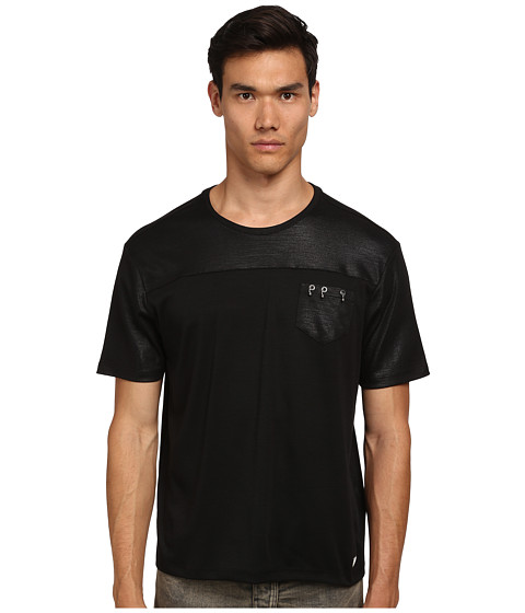 Versace Collection - Interlocking Rings Pocket Shirt (Black) Men's T Shirt