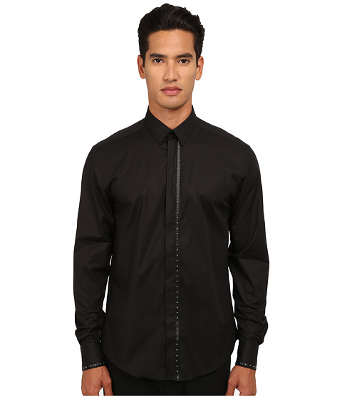 Versace Collection - Leather Applique Stretch Cotton Shirt (Black) Men's Clothing