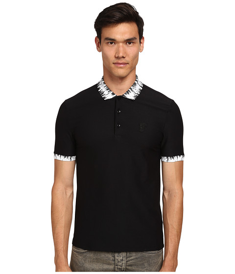 Versace Collection - Dripping Collar Polo (White/Black) Men's Clothing