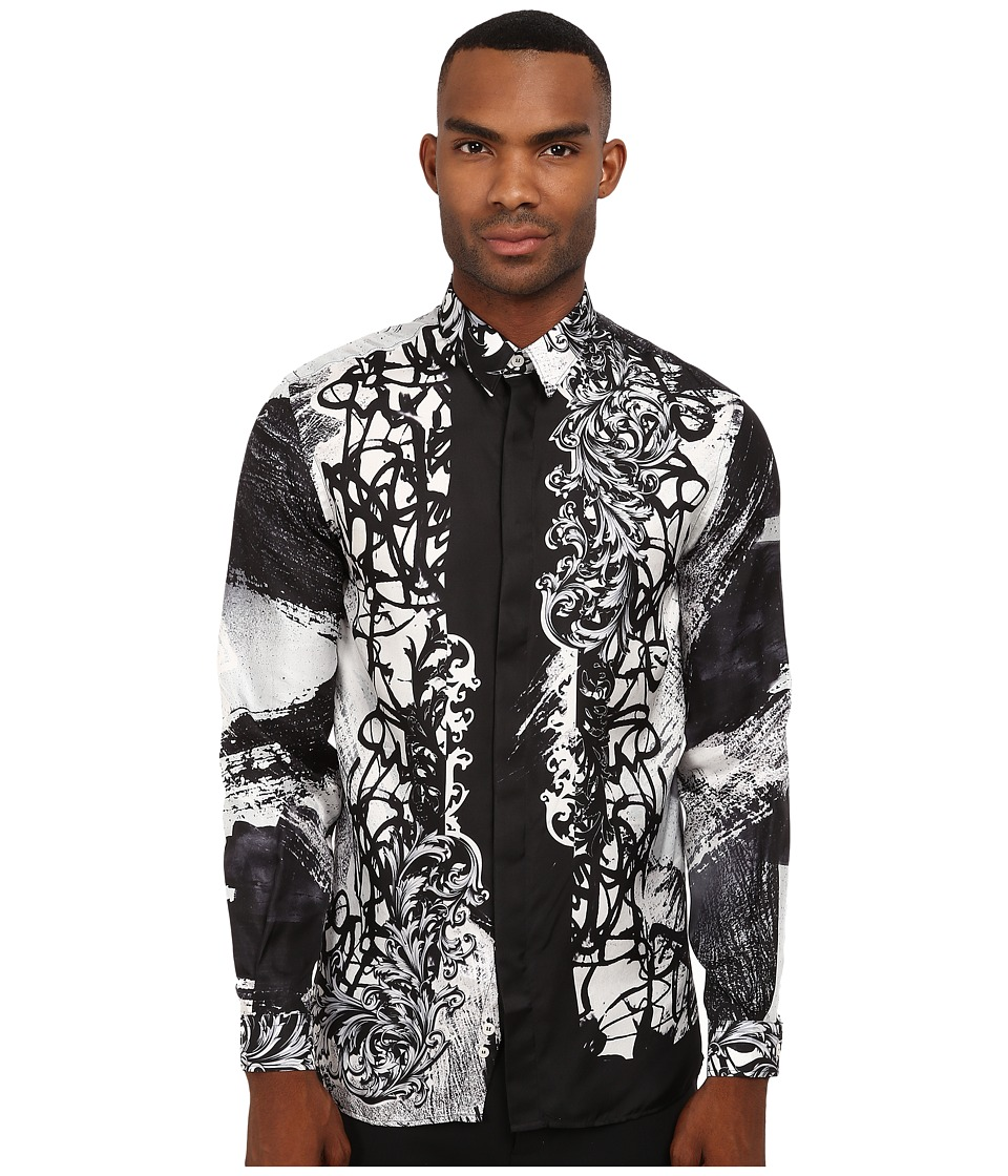 Versace Collection - Baroque Graffiti Silk Shirt (Black) Men's Long Sleeve Button Up