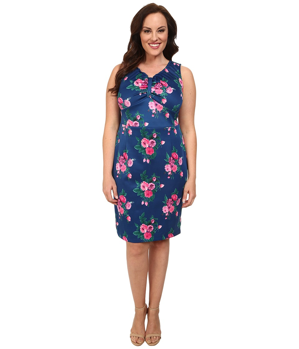 Poppy & Bloom - Plus Size On the Boardwalk Dress (Blue Floral) Women's Dress