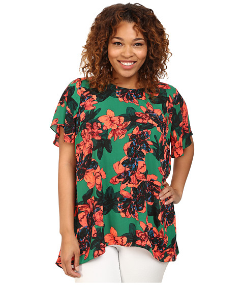 Vince Camuto Plus - Plus Size Tropical Rain Batik Short Sleeve Floral High-Low Hem Blouse (Cactus) Women's Blouse