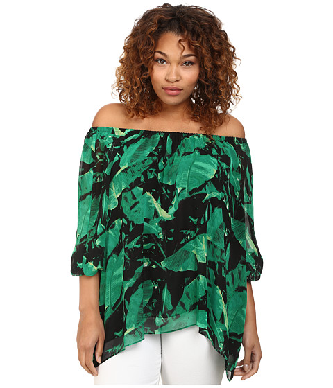 Vince Camuto Plus - Plus Size Tropical Rain 3/4 Sleeve Island Palm Off the Shoulder Blouse (Cactus) Women's Blouse