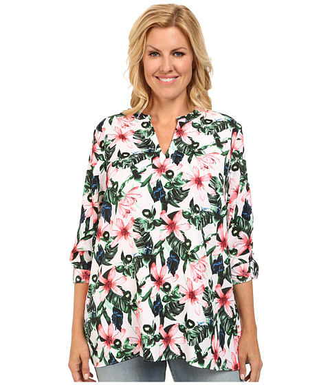Vince Camuto Plus - Plus Size Tropical Rain Long Sleeve Jungle Lily Blouse w/ Roll Tabs (Ultra White) Women's Blouse
