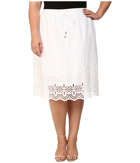 Vince Camuto Plus - Plus Size Tropical Rain Drawstring Skirt w/ Border Eyelet (Ultra White) Women