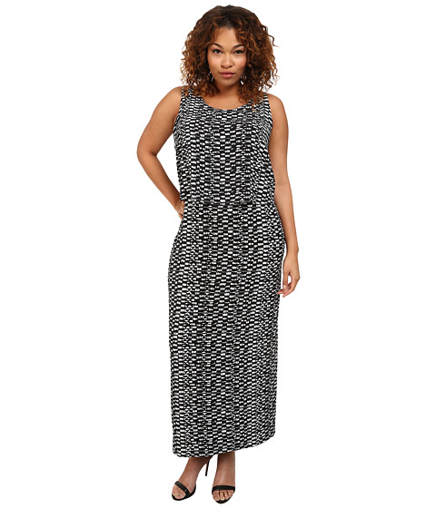 Vince Camuto Plus - Plus Size Tropical Rain Tropical Etching Maxi Dress w/ Overlay (Rich Black) Women