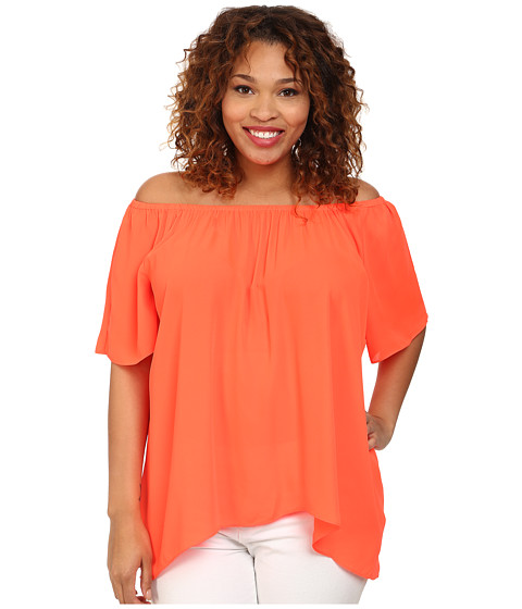 Vince Camuto Plus - Plus Size Tropical Rain Short Sleeve Off the Shoulder High-Low Hem Blouse (Fiery Coral) Women