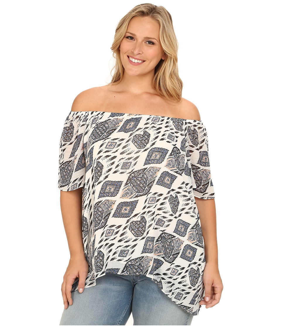 Vince Camuto Plus - Plus Size Moroccan Mirage Short Sleeve Off the Shoulder Marrakesh Blouse (Antique White) Women's Blouse