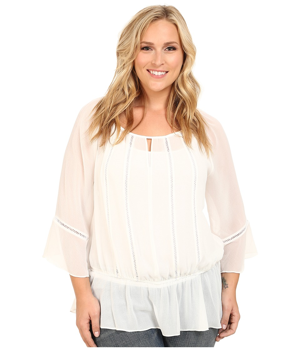 Vince Camuto Plus - Plus Size Moroccan Mirage Peasant Blouse w/ Ruffle Hem (Antique White) Women's Blouse