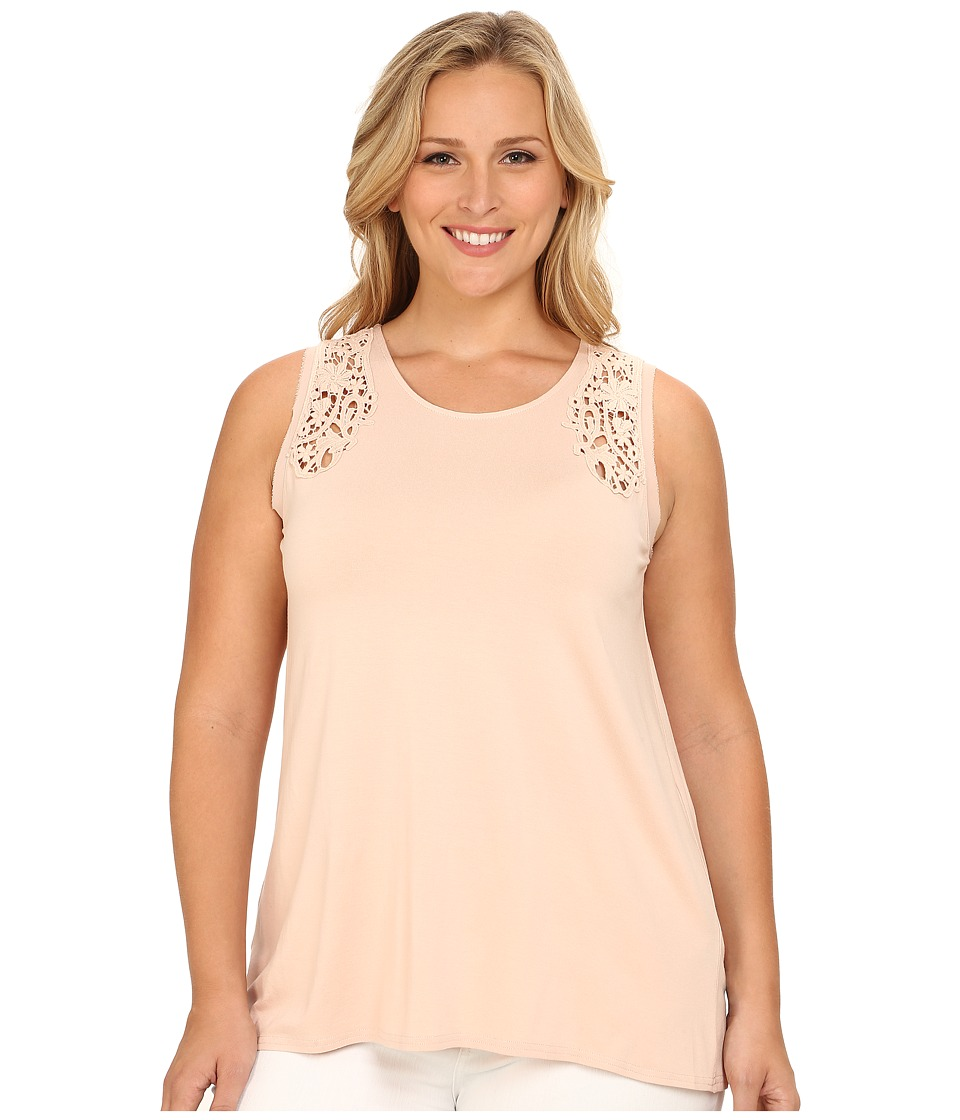 Vince Camuto Plus - Plus Size Moroccan Mirage Sleeveless Top w/ Crochet Lace Trim (Apricot Ice) Women's Sleeveless