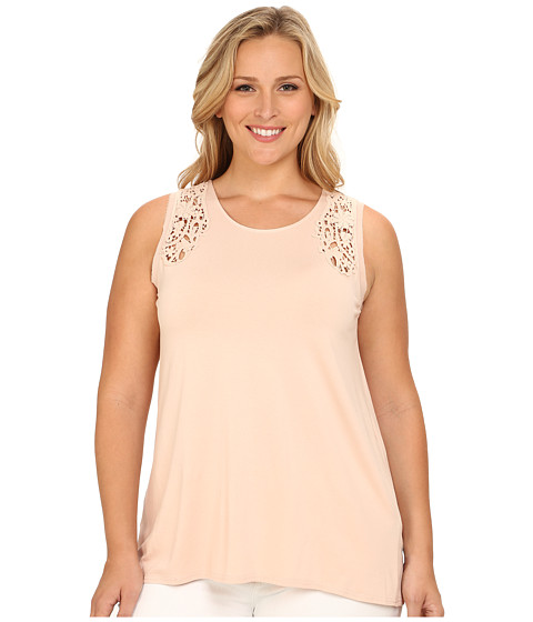 Vince Camuto Plus - Plus Size Moroccan Mirage Sleeveless Top w/ Crochet Lace Trim (Apricot Ice) Women
