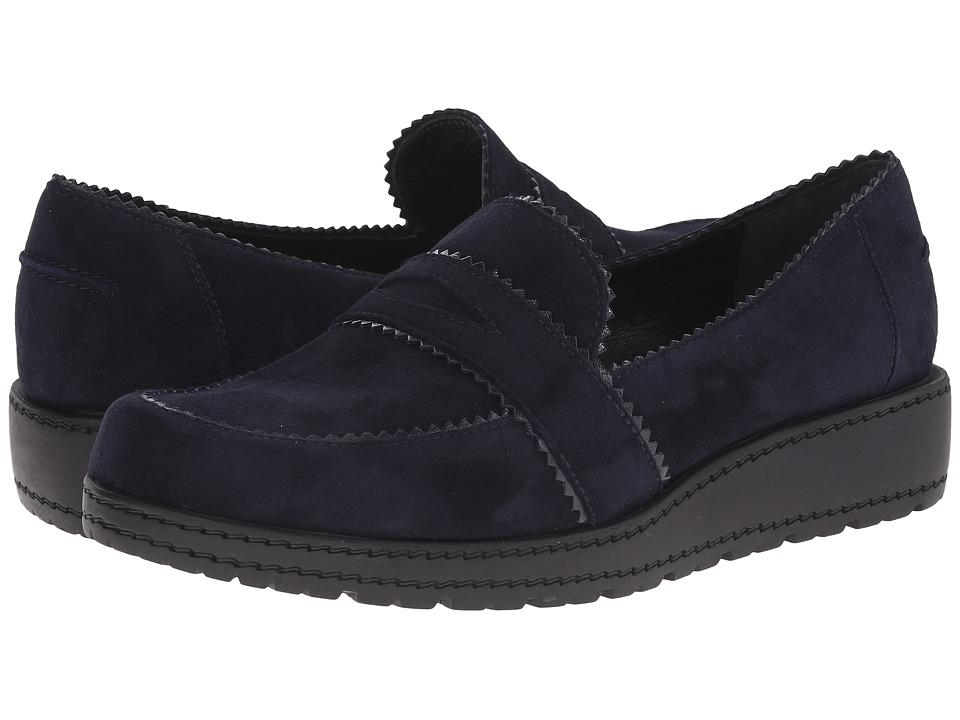 Stuart Weitzman - Schooldays (Navy Suede) Women's Slip on Shoes