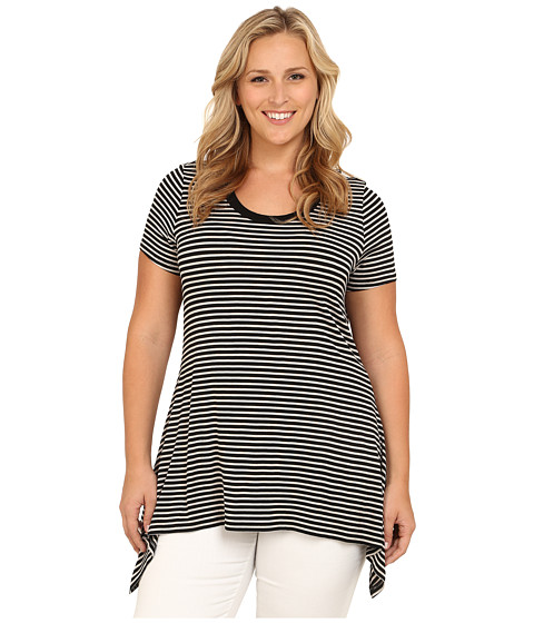 Vince Camuto Plus - Plus Size Moroccan Mirage Short Sleeve Casbah Stripe Shark Bite Top (Rich Black) Women