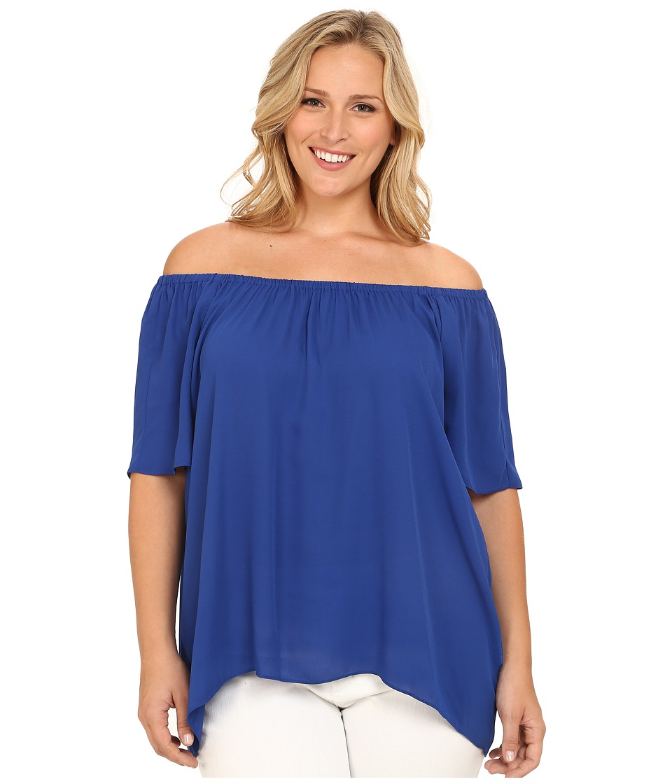 Vince Camuto Plus - Plus Size Moroccan Mirage Short Sleeve Off the Shoulder High-Low Hem Blouse (Mazarine) Women