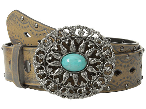 Aventura Clothing - Studded w/ Oval Turquoise Belt (Charcoal) Women