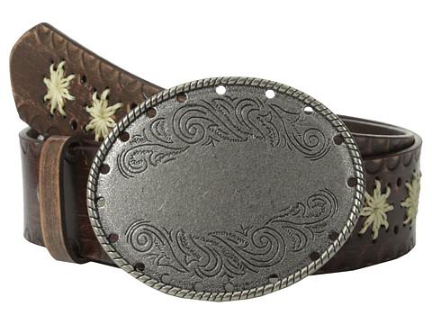 Aventura Clothing - Embossed Flower w/ Oval Flower Belt (Brown) Women's Belts