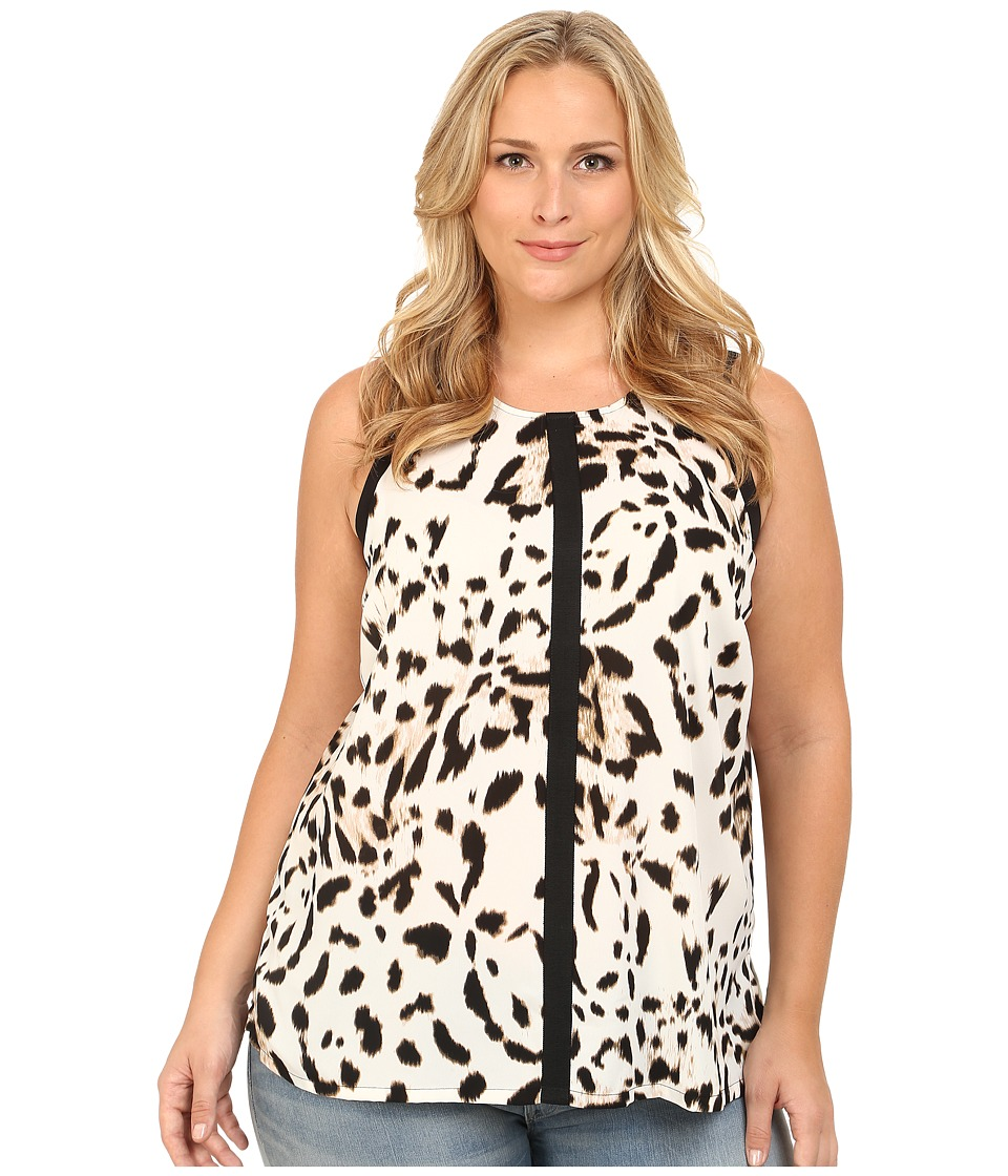 Vince Camuto Plus - Plus Size Serengeti Sleeveless Spotted Lynx Blouse w/ Solid Trim (Antique White) Women