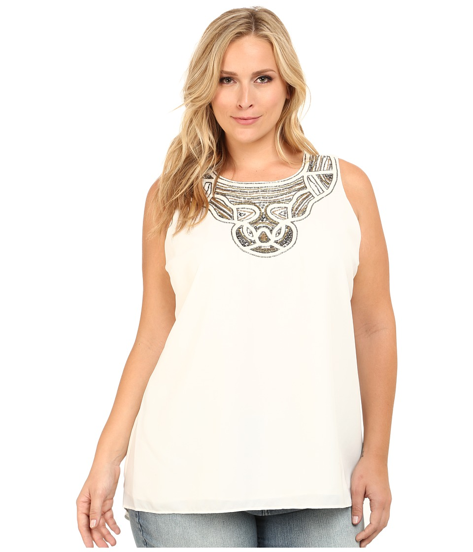 Vince Camuto Specialty Size - Plus Size Serengeti Sleeveless High-Low Hem Blouse w/Neck Embellishment (New Ivory) Women's Blouse plus size,  plus size fashion plus size appare