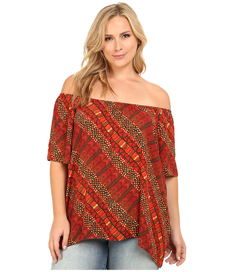 Vince Camuto Plus - Plus Size Serengeti Short Sleeve Maasai Tribal Off the Shoulder Peasant Top (Tigerlilly) Women's Short Sleeve Pullover