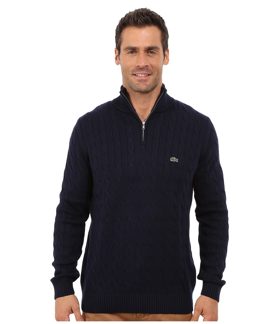 Lacoste - Cable 1/4 Zip Cotton Sweater (Navy Blue) Men's Sweater