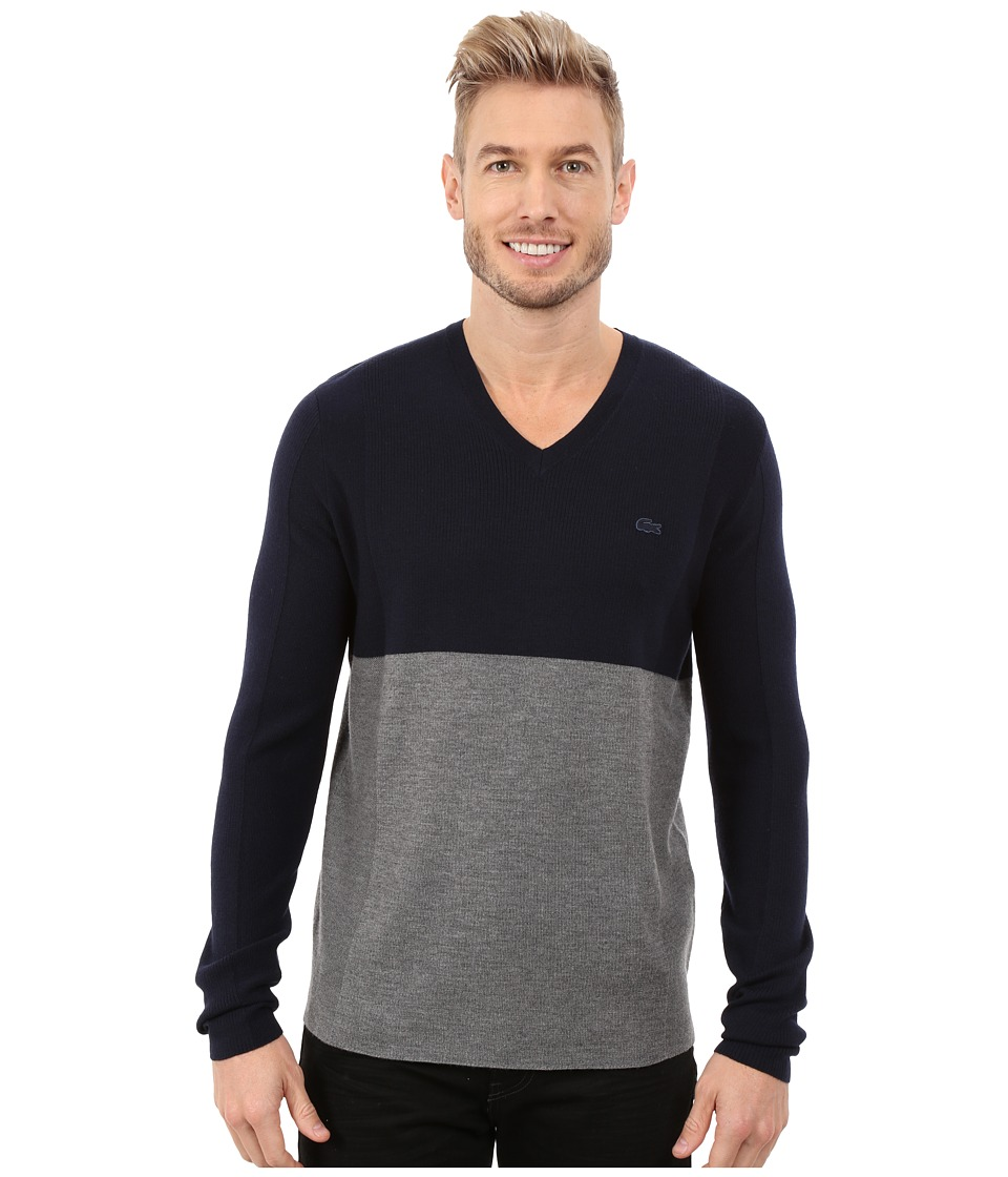 Lacoste - Mixed Stretch Wool Rib V-Neck Sweater (Navy Blue/Stone Chine) Men