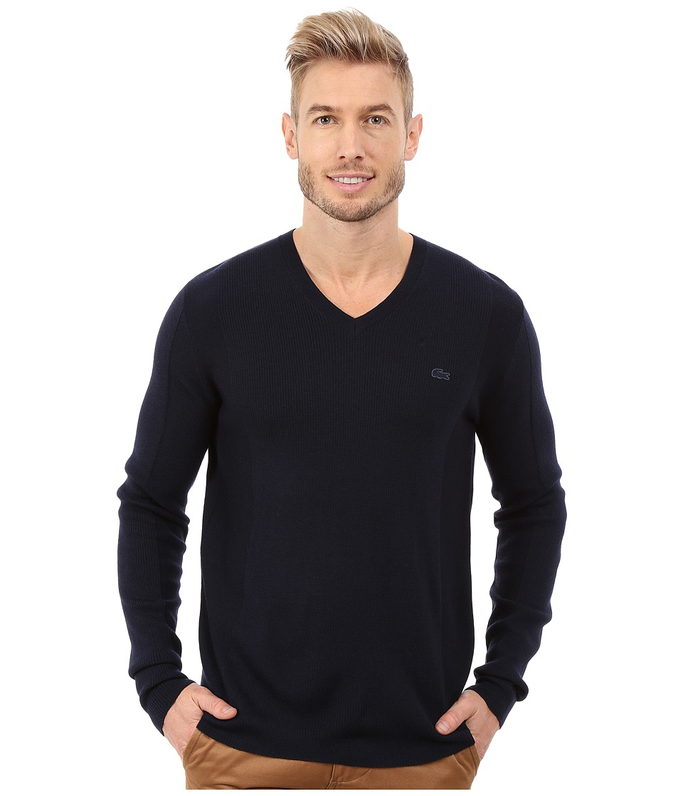Lacoste - Mixed Stretch Wool Rib V-Neck Sweater (Navy Blue/Navy Blue) Men's Sweater