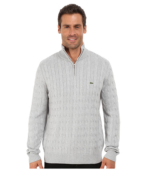 Lacoste - Cable 1/4 Zip Cotton Sweater (Silver Grey Chine) Men's Sweater