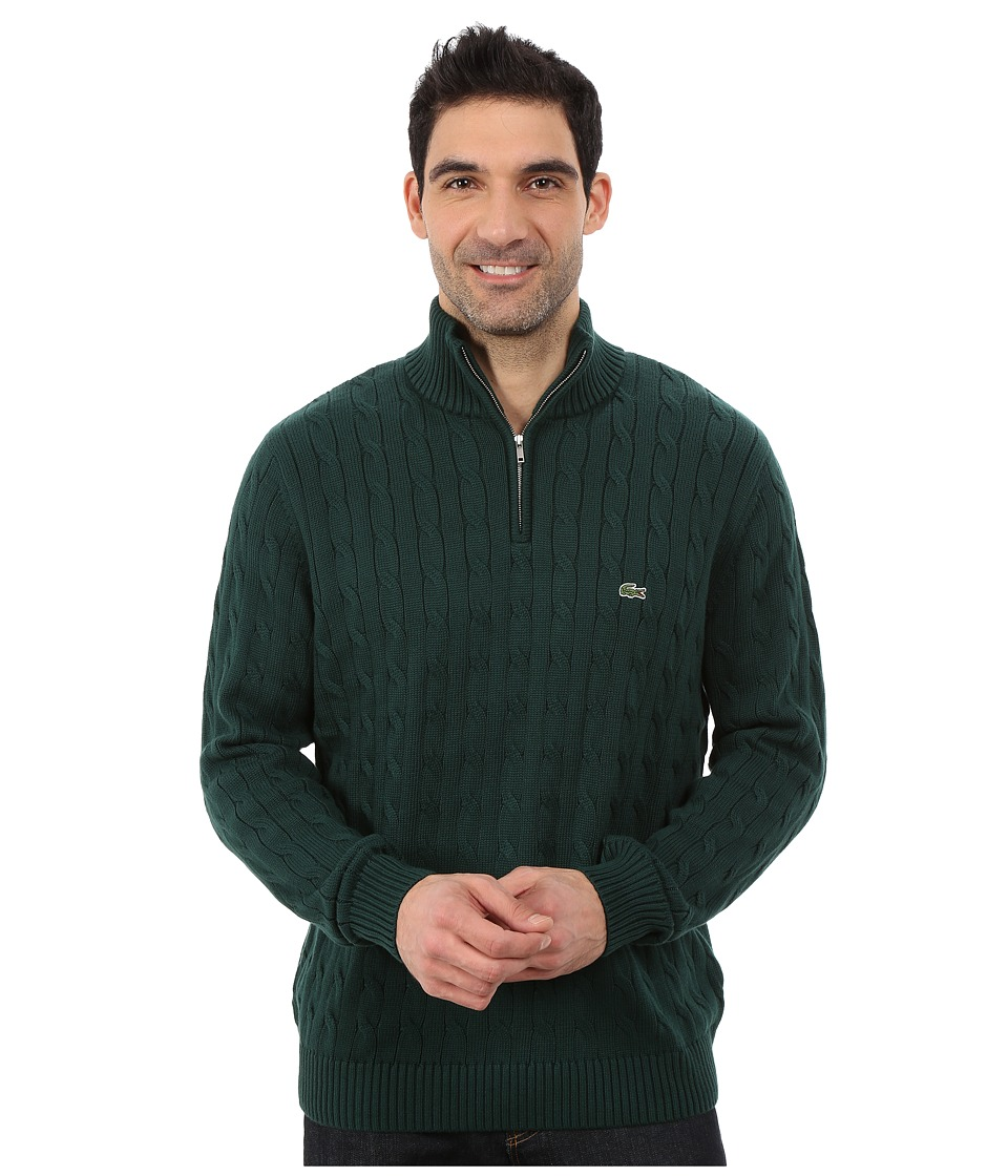 Lacoste - Cable 1/4 Zip Cotton Sweater (Evergreen) Men