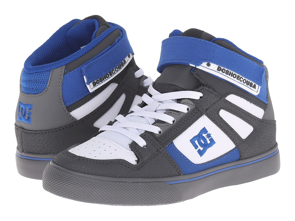 DC Kids - Spartan High EV (Little Kid) (Grey/White/Blue) Boys Shoes