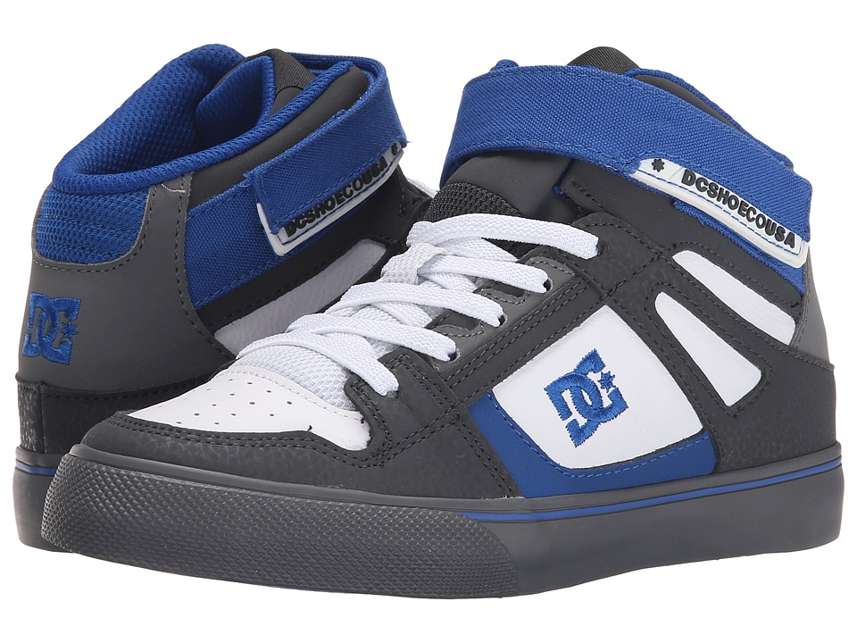 DC Kids - Spartan High EV (Big Kid) (Grey/White/Blue) Boys Shoes