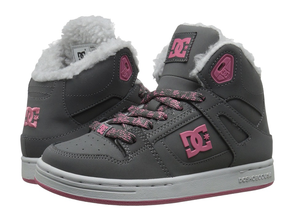 DC Kids - Rebound WNT (Little Kid) (Grey/Pink) Girls Shoes