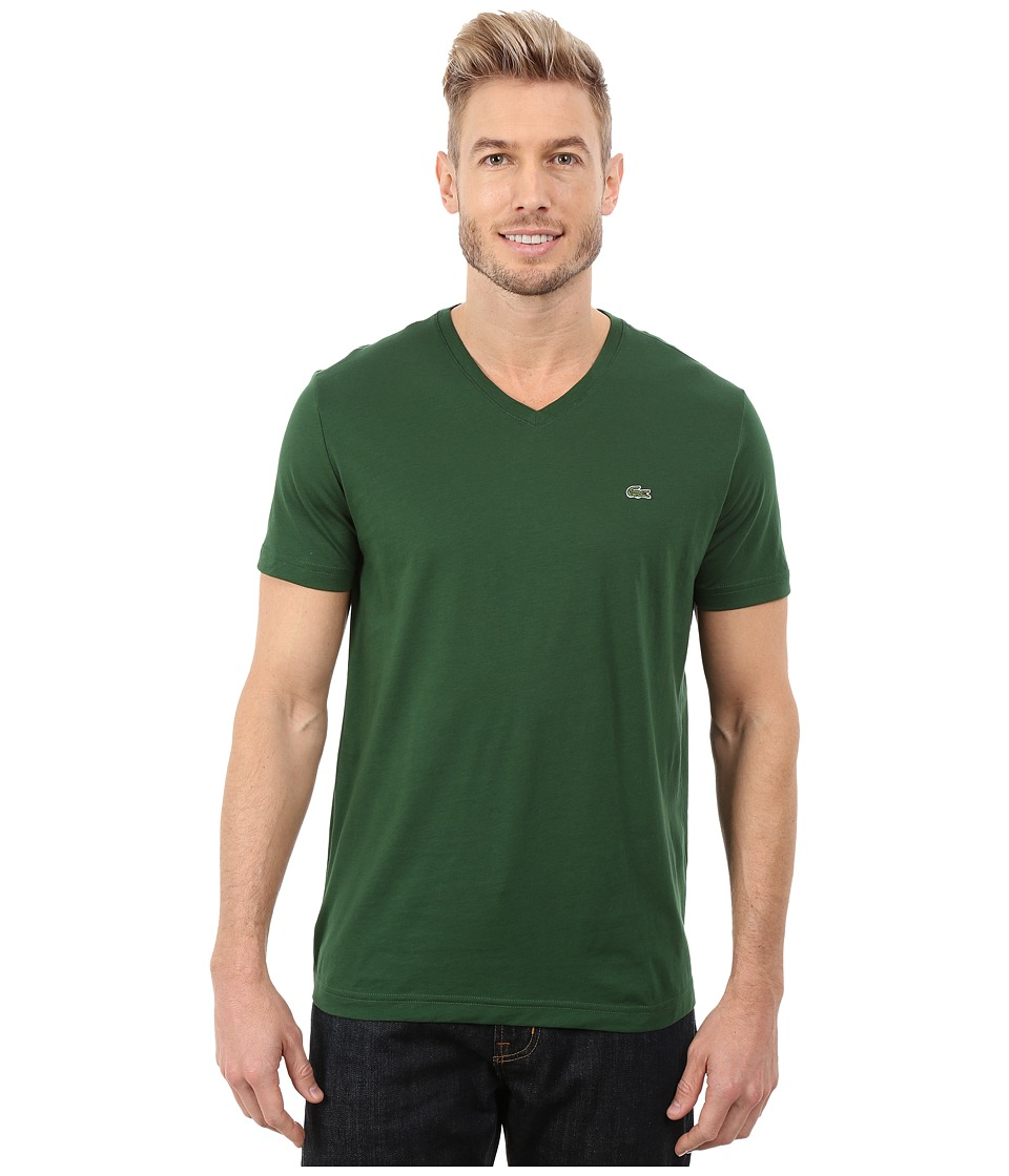 Lacoste - Short Sleeve V-Neck Pima Jersey Tee Shirt (Appalachan Green) Men's T Shirt