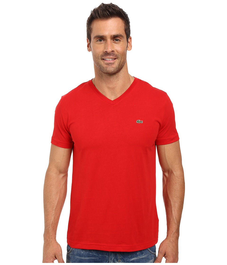 Lacoste - Short Sleeve V-Neck Pima Jersey Tee Shirt (Red) Men's T Shirt
