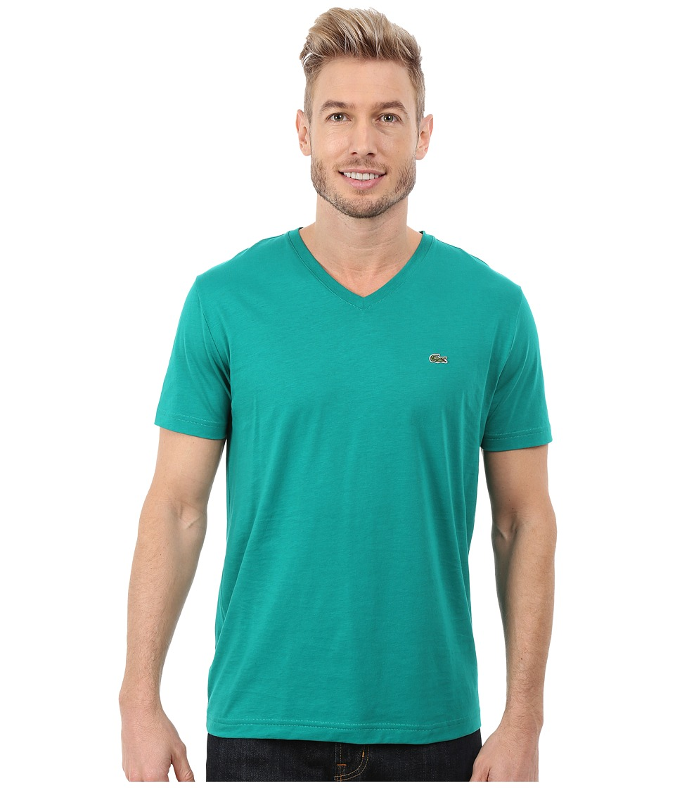 Lacoste - Short Sleeve V-Neck Pima Jersey Tee Shirt (Emerald Green) Men's T Shirt
