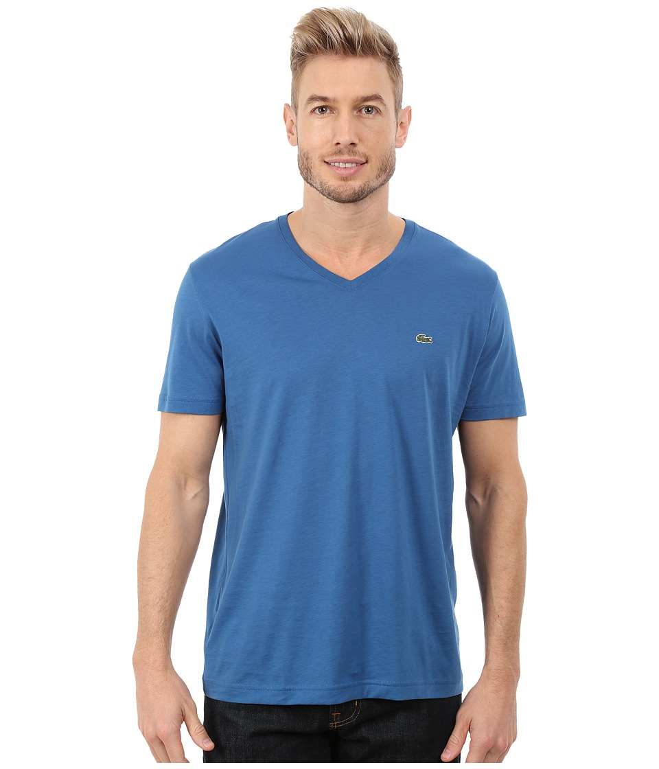 Lacoste - Short Sleeve V-Neck Pima Jersey Tee Shirt (Officer Blue) Men's T Shirt