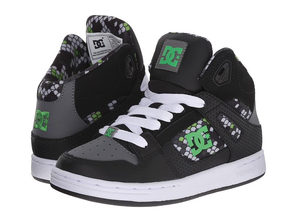 DC Kids - Rebound SE (Little Kid) (Black/Dark Grey Print) Boys Shoes