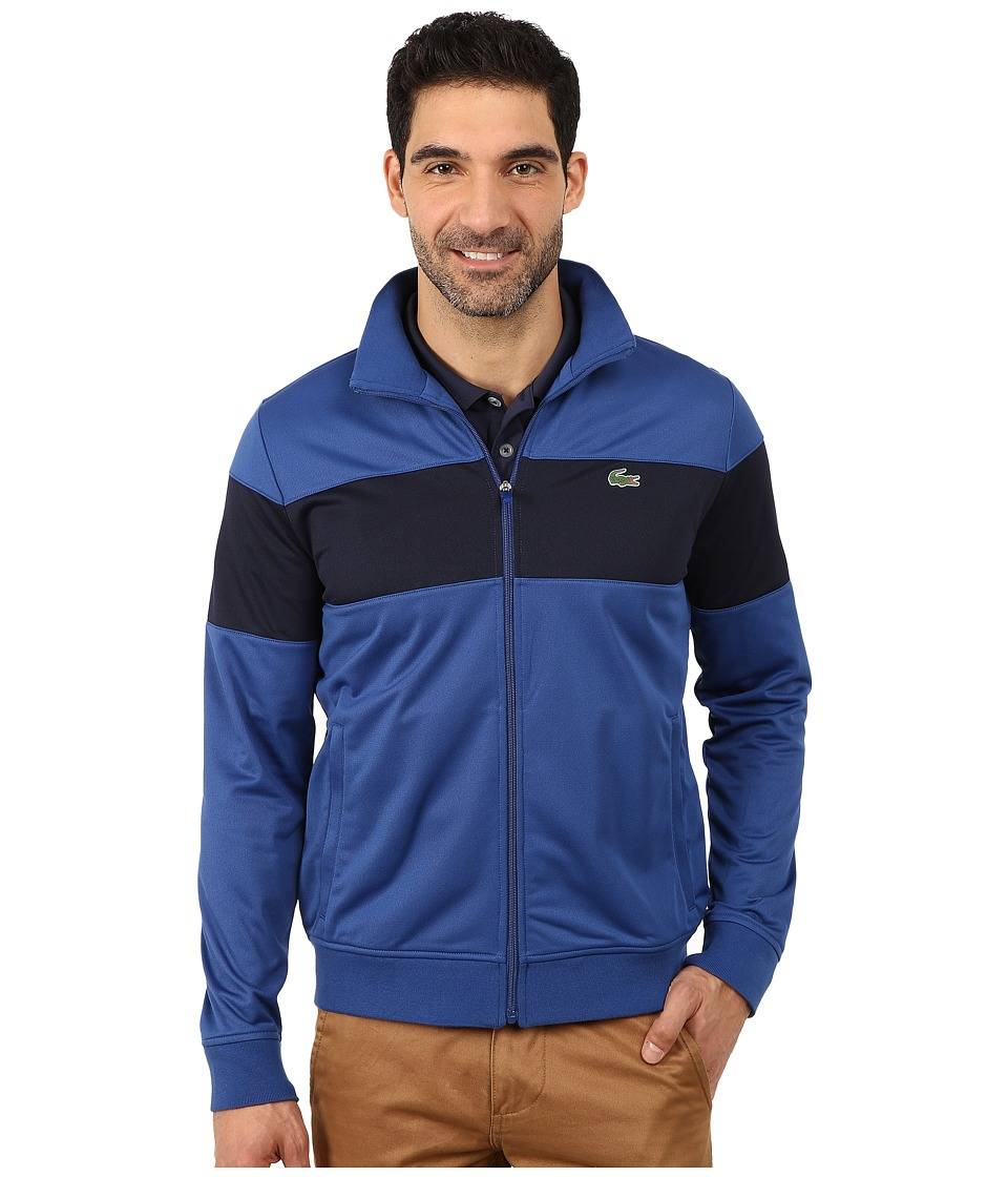 Lacoste - Sport Track Jacket with Bold Chest Stripe (Monaco Blue/Navy Blue) Men's Coat