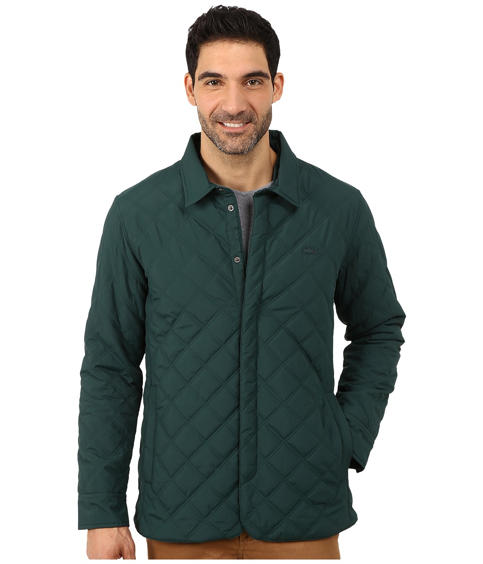 Lacoste - Fall Weight Quilted Coat (Box/Pin Mouline) Men's Coat