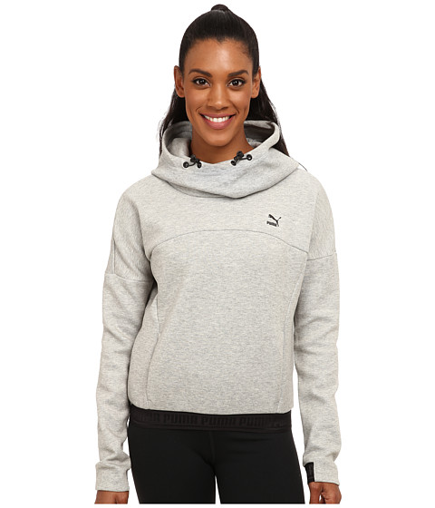 PUMA - Hoodie (Athletic Grey Heather) Women's Long Sleeve Pullover