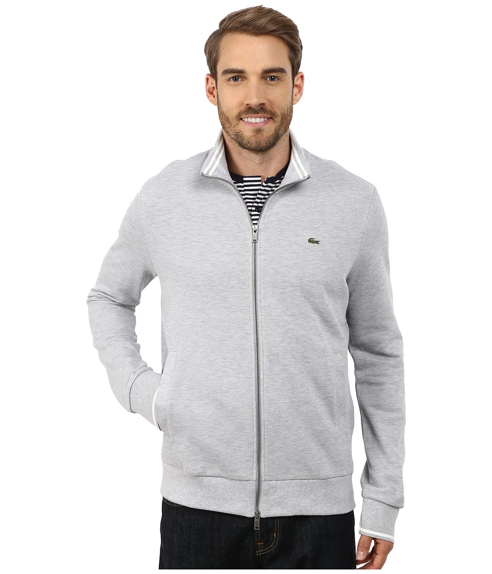 Lacoste - Full Zip Pique Mock Neck Sweatshirt (Silver Chine/Flour) Men's Sweatshirt